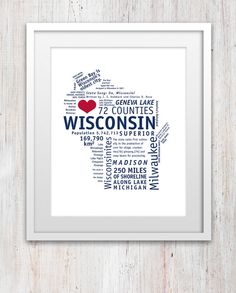 Wisconsin Art Print (8x10, Blue + Red) #Wisconsin #artprint #USA #homedecor #Printable