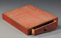 Shaker Red-painted Lap Desk, probably New England, 19th century, slant-lid case with conforming drawer to side with turned wood pull, painted red with yellow striping, ht. 4 1/4, wd. 18 1/4, dp. 13 1/2 in.