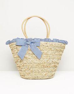 South Beach Stripe Ruffle & Bow Straw Bag - Multi