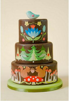 Cutest woodland wedding cake ever. I imagine little Dutch girls with braids and colorful wooden clogs eating this.