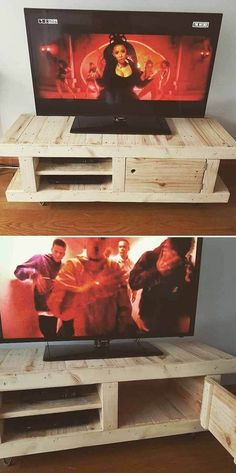 If you are looking for Diy Projects Pallet Tv Stand Plans Design Ideas, You come to the right place. Below are the Diy Projects Pallet Tv S. Build A Tv Stand, Tv Stand Plans, Diy Tv Stand, Diy Furniture Tv Stand, Pallet Furniture, Palette Tv, Pallet Projects, Diy Projects, Pallet Ideas Easy