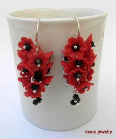 Red  Red earrings  Flower earrings  Dangle by insoujewelry on Etsy