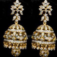 Diamond jumkas Trendy Jewelry, Gems Jewelry, Beaded Jewelry, Jewelery, Diamond Jumkas, Diamond Earing, Hanging Earrings, Big Earrings, Jhumki Earrings