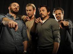 Chris Evans (Cap. America), Chris Hemsworth (Thor), Robert Downey Jr. (Iron Man), and Mark Ruffalow (Hulk) <3