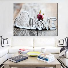 """""""Canvas Wall Art Pictures Framework HD Prints Posters 1 Piece/Pcs Rose Love Words Paintings For Living Room Romantic Home Decor"""" Love Wall Art, Modern Wall Art, Wall Art Decor, Romantic Home Decor, Romantic Homes, Home Decor Pictures, Wall Art Pictures, Canvas Art Prints, Canvas Wall Art"""