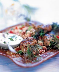Lamb Kofta on a Bed of Couscous with Yoghurt Sauce | Recipes | Ahlan! Live