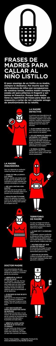 Frases de madres para callar al niño listillo. Texto Víctor Godoy, Infografía Forma&Co www.zerolistillos.es