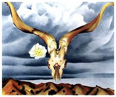 Georgia O'Keeffe Ram's Head with Hollyhock, 1930 #art #poetry #okeeffe