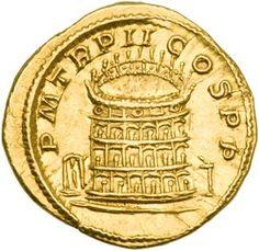 Monedas Antiguas: La moneda romana más valiosa del mundo. Reverso: Coliseo