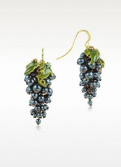 Les Néréides Fruits d'Automne - Boucles d'oreille avec raisin | FORZIERI
