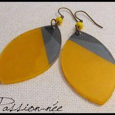 Boucles d'oreilles - jaune, gris & noir - plastique dingue