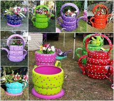 "Colorful Garden Crafts to Make from Old Tires ""Teacup Tire Planter Instructions And Video Tutorial"", ""If you want to add a few brights to y Garden Crafts, Garden Projects, Diy Projects, Garden Ideas, Backyard Projects, Tea Cup Planter, Tire Craft, Painted Tires, Tire Garden"