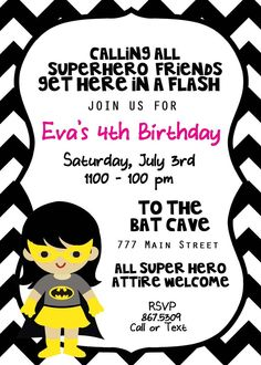 Supergirl/batgirl birthday party invitation. 4th birthday