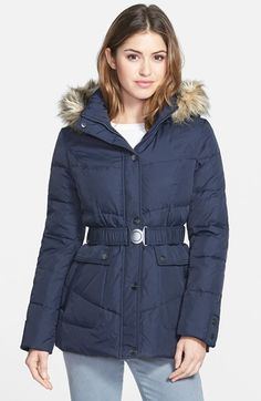 DKNY 'Hayley' Faux Fur Trim Hooded Belted Quilted Jacket (Online Only) available at #Nordstrom