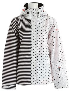 Roxy Jet Shell Snowboard Jacket Black/White Stripes & Dots
