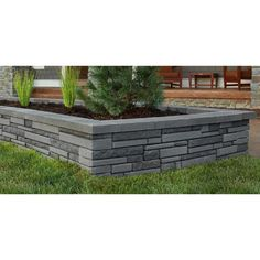 Oldcastle Natural Impressions 2 in. x 12 in. x 8 in. Universal Grey Concrete Wall - The Home Depot Small Retaining Wall, Garden Retaining Wall, Concrete Retaining Walls, Landscaping Retaining Walls, Concrete Wall, Paver Walkway, Modern Backyard, Modern Landscaping, Backyard Landscaping