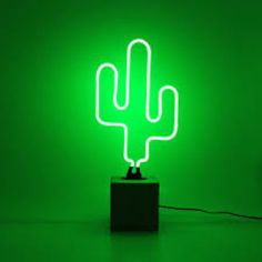 Neon Green Cactus Lamp ($65) ❤ liked on Polyvore featuring home, lighting, green neon light, wall-mounted lamps, mount light, cactus light and mounted lights