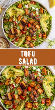 Looking for an easy, plant-based summer meal? This Tofu Salad recipe is healhy and full of flavor! Fresh romaine is tossed with deliciously marinated tofu, crisp cucumbers, juicy cherry tomatoes, avocado and crunchy almonds to create this incredible salad. Top with a homemade lemon herb dressing for a bright, summer dish that's sure to keep you satisfied! This salad recipe is naturally vegan and dairy free. The perfect vegetarian lunch or light dinner! Best Tofu Recipes, Healthy Salad Recipes, Snacks Recipes, Healthy Snacks, Vegetarian Lunch, Vegetarian Recipes, Tofu Salad, Salad Bowls, Romaine Salad