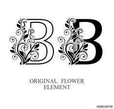 Elegant initial letters B in two color variations with botanical element. Alphabet label sign for company branding and identity.Unique concept type as logotype - Buy this stock vector and explore similar vectors at Letter Monogram, Letter B, Letter Logo, Logo Design Template, Initials, Adobe, Alphabet, Identity, Vectors