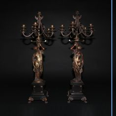 Paire de candélabres en bronze, XIXe, Antiquités Rodriguez Décoration, Proantic