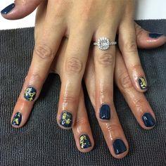 Loving {Lisa}'s peacock blue with gold leaf gel mani 💙 #glossbeautybarsheboygan