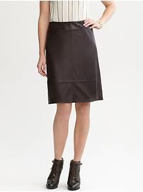 In chocolate brown, gorgeous for fall! Women's Skirts: leather skirt| Banana Republic