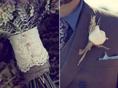 burlap lace country rustic wedding bouquet