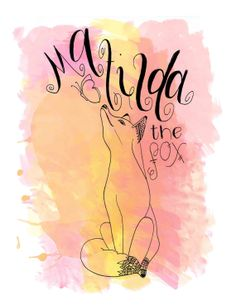 Watercolor Hand Lettering Matilda the Fox Pattern Illustration Poster Print Black Ink Print Pink Red Orange