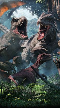 Jurassic World: T-Rex, Indominus Rex and Velociraptors Jurassic World Cast, Jurassic World Dinosaurs, Jurassic World Fallen Kingdom, Jurassic World Wallpaper, Indominus Rex, Tyrannosaurus, Dinosaur Pictures, Dinosaur Art, Prehistoric Creatures