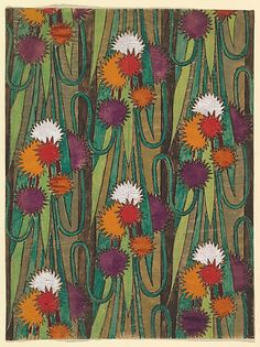 Vertical Panel w/ a Repetitive Pattern of Groupings of Decorative Flowers, Forming Rows Connected by Vines ~ ca1910-1929, French artist