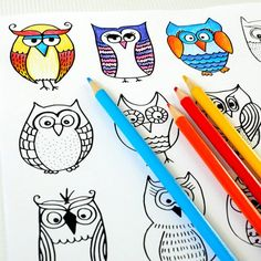 FREE Adult Coloring Pages: 35 Gorgeous Printable Coloring Pages To De-Stress Owl Coloring Pages, Free Adult Coloring Pages, Mandala Coloring Pages, Coloring For Kids, Printable Coloring Pages, Coloring Books, Fall Coloring, Owl Crafts, Sewing Projects For Kids