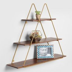 Wood and Gold Triangle Wall Shelf – - Decor Wood Plank Shelves, Rustic Wall Shelves, Wall Mounted Shelves, Hanging Shelves, Rustic Walls, Floating Shelves, Gold Bedroom Decor, Gold Wall Decor, Wall Shelf Decor