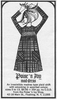 Mod Dress: An Irresistible madras type plaid shift with smocking in assorted colours Sixties Fashion, Retro Fashion, Vintage Fashion, Retro Outfits, Vintage Outfits, Vintage Dresses, John Meyer, 1960s Dresses, Music Illustration