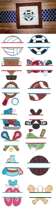 Here is a wonderful set of 14 split applique sports designs.Exclusive artwork for Designs by JuJu by Christopher BrownApproximate font sizes that will fit in the split areas:**please note some tweaking of sizes may be Embroidery Store, Machine Embroidery Applique, Embroidery Fonts, Applique Patterns, Applique Designs, Embroidery Ideas, Applique Monogram, Monograms, Sports