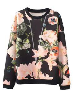 Black Floal Long Sleeve Sweatshirt