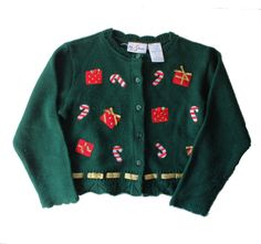 Vintage 90s Christmas Presents and Candy Cane Sweater - Girls Size 4 - Childrens Ugly Christmas by bluebutterflyvintage on Etsy