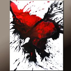 Red Abstract Art Canvas Painting 18x24 Contemporary by wostudios, $75.00