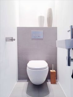 My new toilet with grey tiles, white walls and bamboo accessories. Small Toilet Room, Guest Toilet, New Toilet, Small Bathroom, Downstairs Cloakroom, Downstairs Toilet, Bad Inspiration, Bathroom Inspiration, Toilette Design
