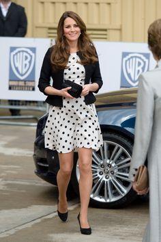 polka dot dress, black blazer and heels