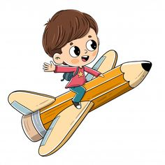 Child flying sitting on a pencil with wings - Vector - Dibustock, Ilustraciones infantiles de Stock Cartoon Cartoon, Cartoon Drawings, Cartoon Characters, Funny Profile Pictures, Powerpoint Background Design, Watercolor Paintings For Beginners, Airplane Art, Character Development, Stories For Kids