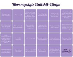 #Fibromyalgie Bullshit-Bingo von FibroFee.   Jeder mit Fibro kennt sie: diese nervigen Sprüche, Meinungen und Ratschläge, die einem Außenstehende gerne ungefragt an den Kopf werfen. Sie sind so häufig, dass man damit buchstäblich Bingo spielen kann. Und dann steht man da und kommt sich vor wie im falschen Film.  Damit dieser Film hoffentlich häufiger ein Happy End hat, gibt's von mir hier das Fibromyalgie-Bullshit-Bingo. #FibroAwareness #ErstDenkenDannReden