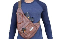 Black Brown Tan Multi Purpose Synthetic Leather Cross BodyChest Bag Gun Pouch Black >>> Be sure to check out this awesome product.