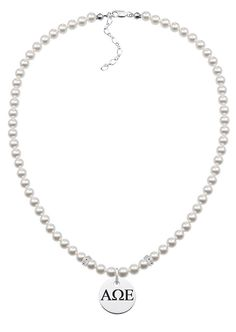 Alpha Omega Epsilon Greek Letters Pearl Necklace With Round Charm