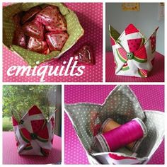 Fabric bin - yes it's in Spanish but translate it or use the pics because this is seriously cute! Small Sewing Projects, Sewing Crafts, Sewing Ideas, Fabric Boxes, Fabric Basket, Serger Sewing, Needlework, Purses And Bags, Diy And Crafts