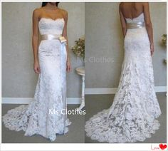 Strapless Wedding Dresses Strapless Sheath Bridal Gowns Wedding Dresses with Color Sash for Bride - Handmade Wedding Dresses, Long Wedding Dresses, Colored Wedding Dresses, Bridal Dresses, Dress Wedding, Beautiful Wedding Gowns, Perfect Wedding Dress, Lace Mermaid Wedding Dress, Lace Wedding