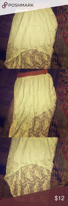 Rue 21 mint high low lace skirt Adorable mint high low lace skirt with attached belt. New, with tags. Rue 21 Skirts High Low