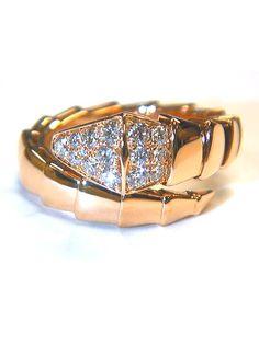 Bvlgari Pink Gold Diamond Serpenti Ring