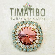 Peach Mint Swarovski Crystal Brooch Pin White Opal by TIMATIBO