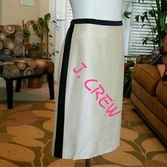 FLASH SALE NWT J. CREW CREAM AND BLACK SKIRT New.  Black strip on both sides and in back.  Back zipper.  79% rayon, 15% silk, 6% linen.  Fully lined. J. Crew Skirts