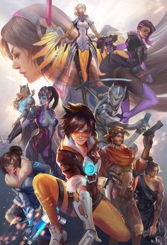 "overwatch-fan-art: ""Overwatch Poster by jiuge "" Overwatch Tracer, Overwatch Posters, Overwatch Comic, Overwatch Memes, Overwatch Genji, Fanart Overwatch, Overwatch Drawings, Video Game Art, Fan Art"